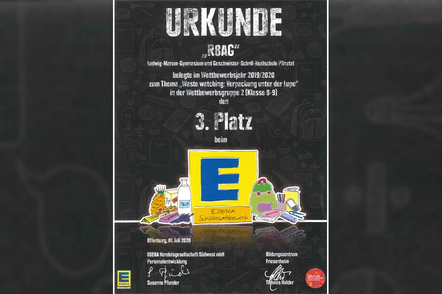 Urkunde EDEKA Waste Watching